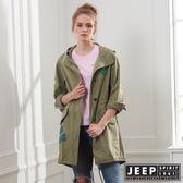 【JEEP】女裝 美式時尚修身襯衫式外套-軍綠