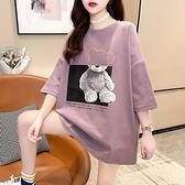 孕婦裝2021新款夏季韓版中長款t恤女純棉上衣潮媽時尚款短袖寬鬆T 童趣屋
