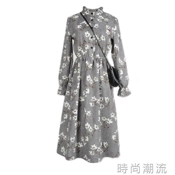 秋冬季新款文藝復古小碎花燈芯絨連身裙中長款顯瘦條絨打底裙 時尚潮流
