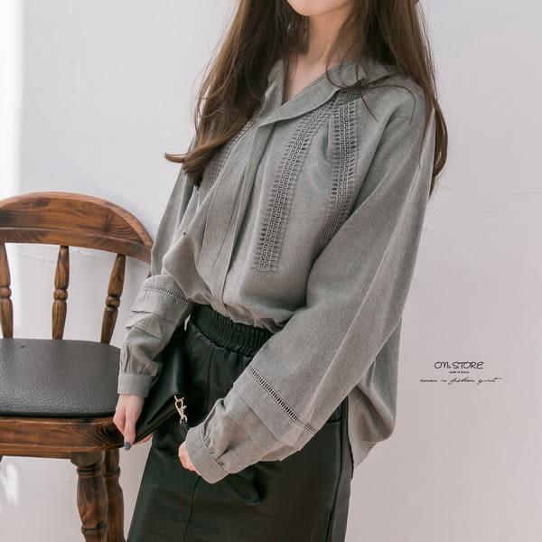 Korea浪漫唯美荷葉緹花蕾絲上衣 - ONi STORE - 423109