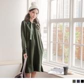 《AB5033-》絨布抽繩連帽魚尾裙襬洋裝- OB嚴選