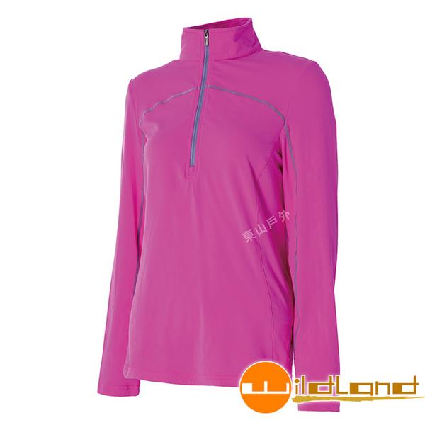 Wildland 荒野 0A52601-09桃紅 女抗菌除臭保暖衣 吸濕排汗衫/小立領中層衣/半門襟保暖衣