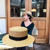 草編麥稈平頂草帽女夏天小清新禮帽