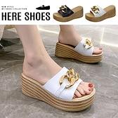 [Here Shoes]前3後7cm涼鞋 優雅氣質百搭金屬飾釦 皮革楔型厚底涼拖鞋 防水台-KWK5025