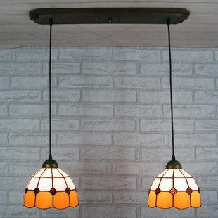 設計師美術精品館廠家直銷/歐式 彩色玻璃 帝凡尼 簡約古典色系 2兩頭吊燈 地中海過道吊燈8
