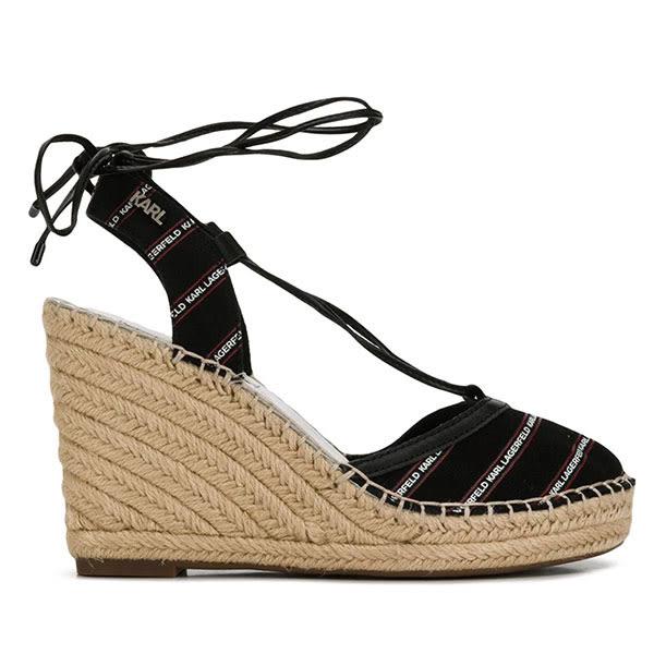 Karl Lagerfeld 卡爾 老佛爺 鞋 KAMINI斜條LOGO楔型草編鞋-黑