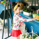 兒童泳裝 碎花 抓皺 花邊 袖蓋 裙式 長袖 兒童泳裝【TF17116】 BOBI  08/31