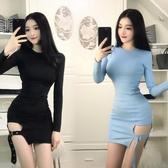 2019春裝韓版新款時尚名媛氣質性感開衩顯瘦小圓領緊身小黑洋裝