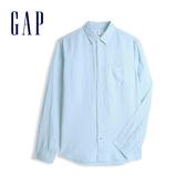 Gap 男裝 清爽格紋翻領長袖襯衫 548296-抽象印花