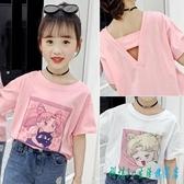 女童短袖t恤2020新款夏裝卡通美少女印花體恤衫休閒女孩百搭上衣 OO9688『科炫3C』