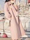 赫本風毛呢外套女中長款2020流行秋冬韓版過膝小個子氣質呢子大衣 黛尼時尚精品