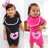 短袖造型連身衣 水玉點點 心型假背包 爬服 女寶寶 哈衣 附圍兜 2件套 Augelute Baby 61025