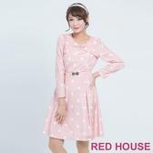 【RED HOUSE 蕾赫斯】水鑽蝴蝶結點點洋裝(共2色)(無附腰帶)