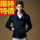 男款外套毛呢商務個性-灑脫防寒雙排扣短版男大衣3色61x15【巴黎精品】