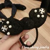 蕾絲蝴蝶結十字架兔耳朵造型髮束 髮圈【櫻桃飾品】【20120】