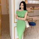 歐媛韓版 平口洋裝 夏季女時尚chic性感露肩短袖修身中長款包臀連身裙潮