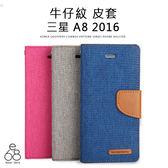 E68精品館 韓國 MERCURY 牛仔紋皮套 三星 A8 2016版 手機殼 手機皮套 軟殼 側翻 可立支架