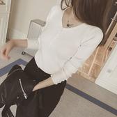 【GZ82】秋裝新款螺紋V領套頭毛衣 紐扣修身顯瘦打底針織衫女