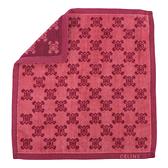 CELINE經典滿版LOGO雙面純棉小方巾(暗紅色) 989007-206
