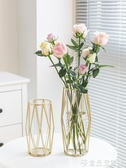 花瓶 北歐ins風水培輕奢餐桌透明鐵藝金屬玻璃金色小花瓶客廳插花擺件 宜品