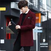 男士韓版休閒西服中長款修身秋冬季加厚商務帥氣小西裝毛呢外套潮
