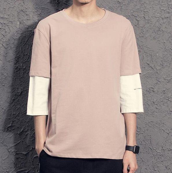 【全館八九折】2019夏季新款 個性假兩件男生短袖T恤 小字母印花純色五分袖