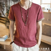 中國風男裝刺繡亞麻T恤男短袖寬鬆大碼薄款休閒盤扣復古棉麻上衣 聖誕節免運