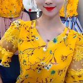 雪紡衫女士短袖碎花上衣夏2019韓版新款 全館免運