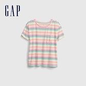 Gap女童 棉質口袋刺繡圓領短袖T恤 538278-彩色條紋