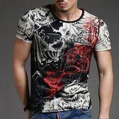短袖T恤男韓版上衣 夏季霸氣男式修身短袖印花T恤緊身時尚個性衫《印象精品》t3330