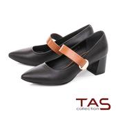 TAS寬版釦帶素面粗跟鞋-時尚黑