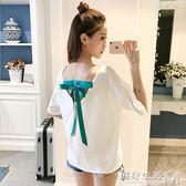 夏季新款韓版繫帶露背t恤女短袖上衣寬鬆純棉百搭顯瘦體恤潮  居家物語