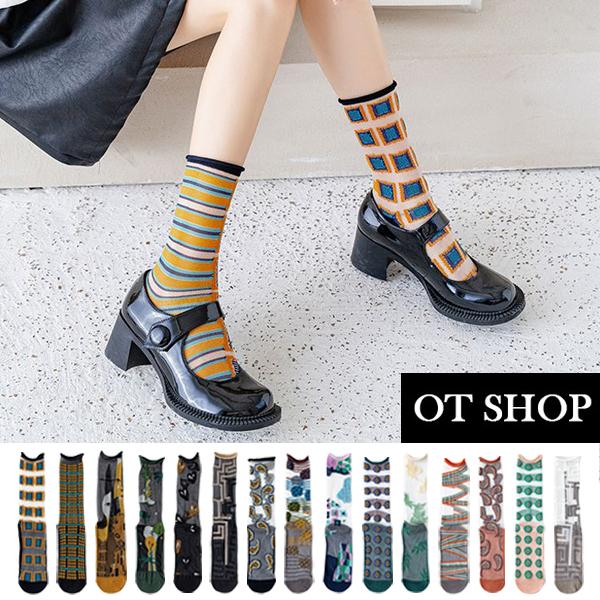 OT SHOP [現貨] 襪子 透膚絲襪 玻璃襪 中筒襪 撞色 捲邊襪口 刺繡圖案 潮流個性 日韓系穿搭 M1144
