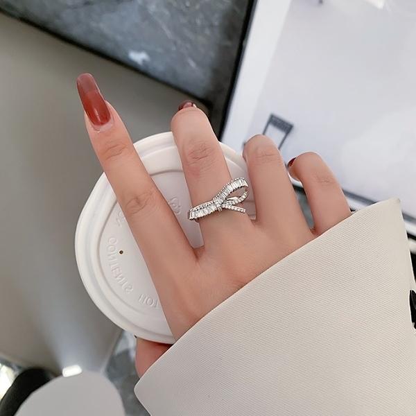 戒指.精緻優雅蝴蝶單結鑲鑽戒指.白鳥麗子