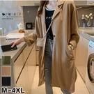 【QV3267】魔衣子-百搭修身單釦薄款長版風衣外套