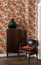 和風 日風 紅色 丹頂鶴紋 壁紙 rasch(德國壁紙) / Kimono 409345