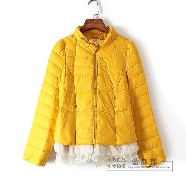 [超豐國際]紫冬裝女裝姜黃色立領保暖短款舒適時尚羽絨服 27(1入)