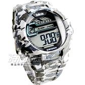 JAGA Blink系列 防水手錶 運動錶 液晶冷光照明 水轉印花色 男錶 迷彩 日期 計時碼表 M1087-DC(白灰)
