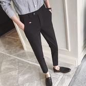 褲子9九分小腳修身西裝褲正韓潮流 限時八五折