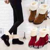 雪地靴女短筒百搭韓版學生加絨靴子新款短靴冬天冬季鞋子棉鞋   可然精品鞋櫃