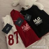 情侶裝新款字母MLG印花紅色簡約情侶棉T恤短袖 免運快出