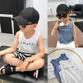 背心男童背心夏季百搭韓國麻棉料兒童字母背心中小童無袖上衣
