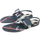 BURBERRY 格紋蝴蝶結飾夾腳涼鞋(藍色) 1730402-34