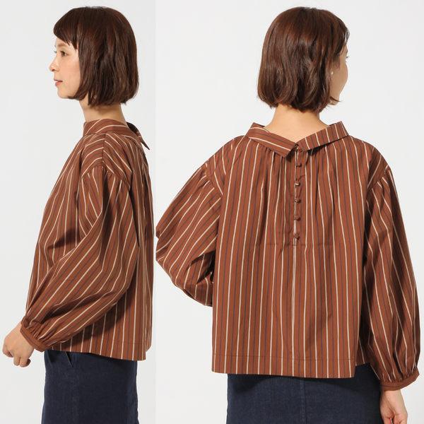 GLOBAL WORK女2WAY前後兩穿圓立領直條紋落肩澎寬袖長袖襯衫-二色