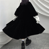 日系洋裝 冬裝日系復古暗黑寬松百搭可愛中長款加厚絲絨七分袖洋裝女學生