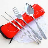 布袋筷勺叉三件套 餐具 便攜 套裝 環保 不鏽鋼 學生 工作 戶外 用餐 野餐【Q188-1】✭慢思行✭