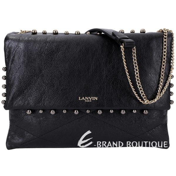 LANVIN QUILTED LAMBSKIN SUGAR 珍珠鉚釘羊皮鍊帶肩背包(黑色) 1530455-01