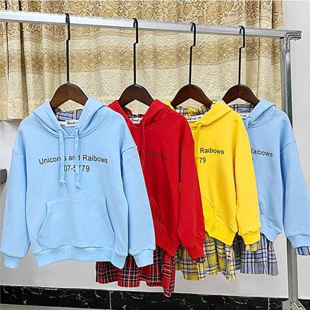 寬版拼接格子假2件長袖上衣親子裝(大人)