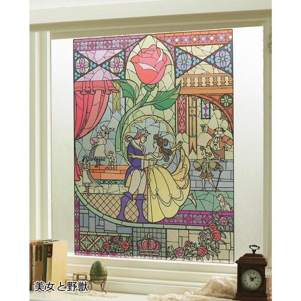 日本製迪士尼美女與野獸玻璃貼紙幾何041471通販屋