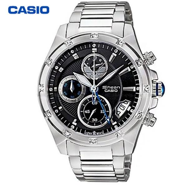 CASIO SHEEN 浪漫星月水鑽三眼黑面女錶x36mm・日期顯示・SHN-5506D-1A・藍寶石水晶鏡面